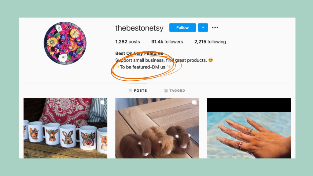 Example of a paid shoutout on Instagram for Etsy sellers.